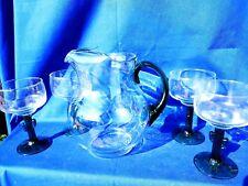 New listing Vintage Margarita Glass Pitcher Sangria Bar Ware + 4 Cactus Base Glasses ��m13