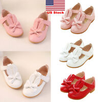 US Toddler Baby Girls Kid Bunny Rabbit Bow Flat Patent Pumps Leather Party Shoes