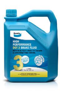 Bendix High Performance Brake Fluid DOT 3 4L BBF3-4L fits Peugeot 407 2.0 HDi...