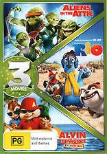 ALIENS IN THE ATTIC + RIO + ALVIN CHIPWRECKED - BRAND NEW & SEALED 3-DISC DVD