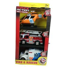 Maxx Action Rescue Helicopter Fire Truck Ambulance Lights Sounds Kids Toy New