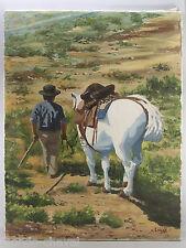TOILE PEINTE, huile signée C. Lucas,  scène de Camargue, cheval et cavalier