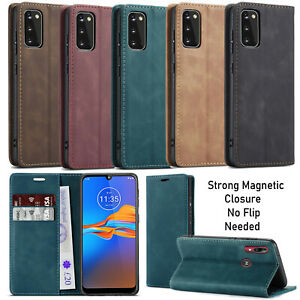 For Motorola Moto E6 Plus E6 Play Case Suede Leather Wallet Flip Cover Magnetic
