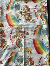 Rainbow Brite Vintage Twin Flat Sheet Fabric Bright 1980s Retro Bedsheet Materia