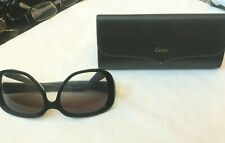 Cartier Womens Sunglasses C Decor Oval Black X Blue 140 mm