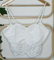 Wildfire Boho White Embroidery Anglaise Festival Bustier Shirt Size 12