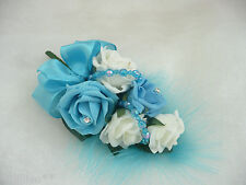 Wedding Flower Buttonhole Corsage Ivory & Turquoise With Beading.... PIN ON A