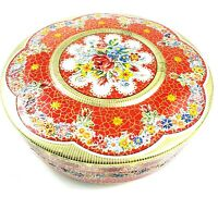"""Vintage Tin Container Made In Holland Floral Design Embossed 8"""" Round Mosaic Red"""