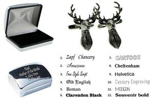 Pewter Stag Game Scottish Animal Cufflinks + Personalised Engraved Case XWCL077