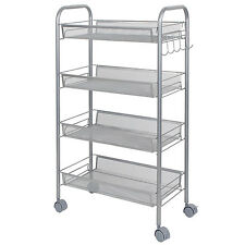 Lifewit Metal Mesh Storage Rolling Cart with 4 Baskets Shelf Trolley Home Office