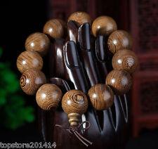NEW 15mm 17PC Tibetan Sandalwood Carved Buddha Prayer Beads Bracelet