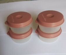 Tupperware Expression Smidgets Set of 4 in white base with color lid-New..