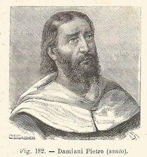 B1795 San Pietro Damiani - Incisione antica del 1925 - Engraving