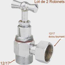 Lot de 2 Robinets d'Arrêt Laiton,12/17,équerre,Mâle Femelle,Toilette,WC,Chasse