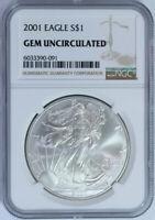 2001 American Silver Eagle Dollar $1 / .999 Pure / Certified NGC GEM BU 🇺🇸