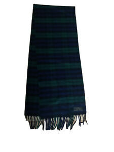 BRAND NEW PLAID 100% CASHMERE SCARF GREEN NAVY BLUE MADE IN GERMANY 64X12 FRINGE
