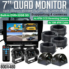 "7"" Quad Monitor DVR SD Recorder Side Rear View Camera System For Truck Trailer"