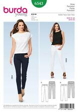 BURDA SEWING PATTERN MISSES' SKINNY PANTS / TROUSERS JEANS DETAILS 6 - 20 6543