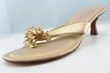 Talbots Flip Flops Gold Leather Women Shoes Size 7 Medium (B, M)