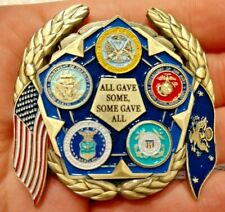 Large US military challenge coin all branches USCG USMC ARMY NAVY USAF