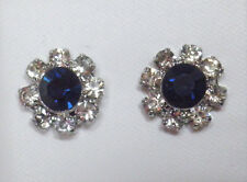 Very dark blue and clear glass silver tone stud earrings 10mm post & butterfly