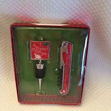 """New Christmas 2pc Set """"I Love Wine"""" Wine Stopper & 2 n1 Bottle Opener Cork Screw"""