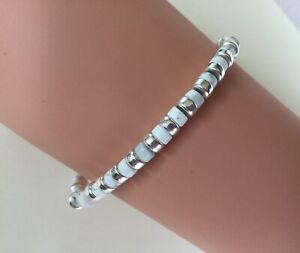 Lapis Lazuli White Howlite stones bracelet 925 Sterling Silver charm Bumble Bee