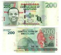 UNC eSwatini SWAZILAND Tyvek 200 Emalangeni (2014) P-40b AA Prefix