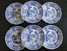 6 assiettes plates anciennes Villeroy & Boch Mettlach Burgenland bleu 25 cm