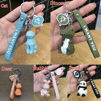 Cartoon Panda Geometric Keychain Small Dinosaur keychains Animal Key Ring Gift