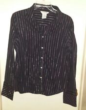 George Stretch Striped Blouse w/ Sparkly Threads & Rhinestone Buttons ~ XL 16/18