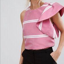 6235c73283c89 MANGO SUIT ~ L   14 ~ Chic Pink One Shoulder Ruffle White Stripe Crop Top