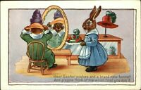 EASTER Poem rabbits humanized in clothes hats ~ Whitney Made ~ c1910 postcard