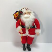 Santa Claus Christmas Ornaments Stuff Fabric Body Resin Face 6.75 Inches