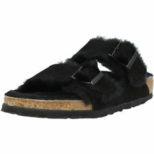 Birkenstock Arizona Fur Black Suede Adult Slides Sandals
