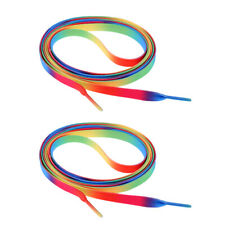 1 Pair Knitted Shoelace for Roller Skates Boots Hockey Skates, Rainbow