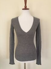 Women's EZRA FITCH Abercrombie Fitch Gray Long Sleeve Cashmere Vneck sweater XS