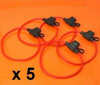 5 x Inline Fuse Holder to Accept 12V 30A Mini Blade Fuses Splash Proof Car Bike