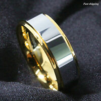 8/6mm Tungsten Mens Ring 18K Gold High polished Wedding Band ATOP Men's Jewelry