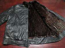 Womens Leather Fur Lined Black Jacket Size Large Motorcycle Stylish Coat Hipster