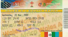 SOUTH AFRICA 2000 RUGBY TOUR TICKET v WALES A 22 Nov at Cardiff