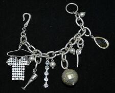 Mesh Shirt On Hanger Chalice Pipe & Crystal Drop Silver Tone Charm Bracelet