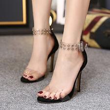 Womens High Heels Transparent Stiletto Buckle Sandals Shoes Balck US6/UK5/EU37
