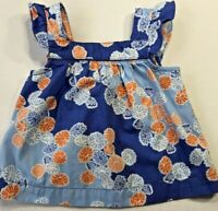 Janie and Jack Baby Girls 3-6 Months Blue and Orange Floral Top Seaside Escape