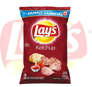 4 Bags! Canadian Lays Ketchup Chips Family Size (235g)