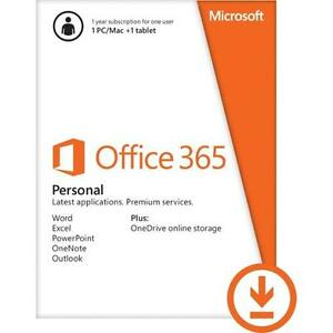OFFICE 365 PERSONAL SUBSCRIPTION W/ WORD, EXCEL, POWERPOINT, ONENOTE & OUTLOOK