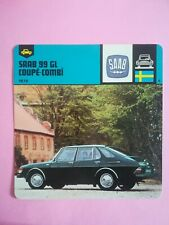 Fiche Auto Card 12 x 12,5 cm - SAAB 99GL 1967 SUÈDE