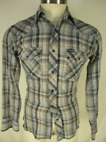 Wrangler Vtg Mens Blue Plaid Long Sleeve Western Snap Shirt S USA Made