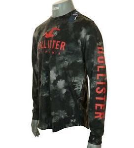 Bnwt Men's Authentic Hollister Long Sleeve Logo T Shirt Tie Dye Black M L XL
