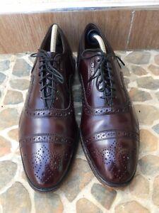 Allen Edmonds Strand Cap Toe Brogue Burgundy Oxford Leather Shoes SAize USA 8.5E
